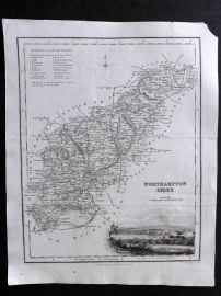 Bell & Fullarton C1835 Antique Map. Northamptonshire, UK